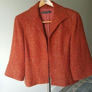 Lafayette 148 New York Orange Metallic blazer